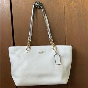 Cream leather COACH shoulder bag